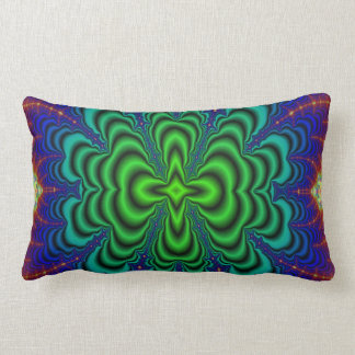 Wormhole Fractal Neon Green Space Tubes Lumbar Pillow