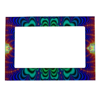 Wormhole Fractal Neon Green Space Tubes Magnetic Photo Frame