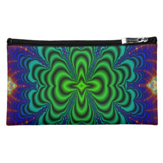 Wormhole Fractal Neon Green Space Tubes Makeup Bag
