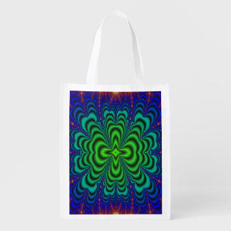 Wormhole Fractal Neon Green Space Tubes Market Totes