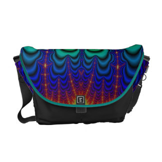 Wormhole Fractal Neon Green Space Tubes Messenger Bag