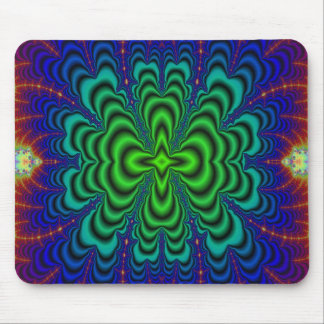 Wormhole Fractal Neon Green Space Tubes Mouse Pad