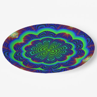 Wormhole Fractal Neon Green Space Tubes Paper Plate