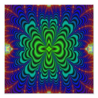 Wormhole Fractal Neon Green Space Tubes Photo Print
