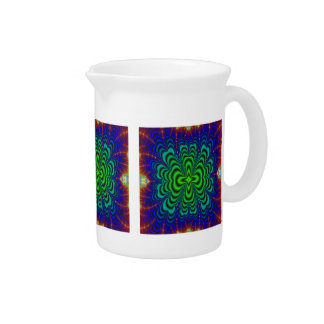 Wormhole Fractal Neon Green Space Tubes Beverage Pitcher