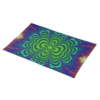 Wormhole Fractal Neon Green Space Tubes Placemat