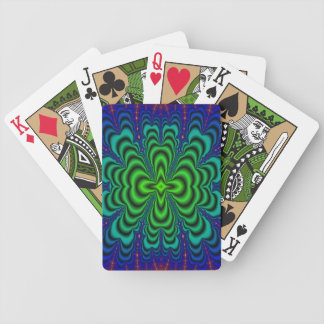 Wormhole Fractal Neon Green Space Tubes Poker Deck
