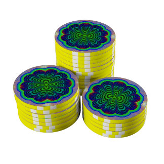 Wormhole Fractal Neon Green Space Tubes Poker Chip Set