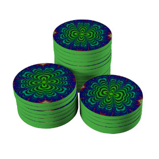Wormhole Fractal Neon Green Space Tubes Poker Chips Set