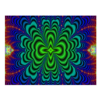 Wormhole Fractal Neon Green Space Tubes Postcard