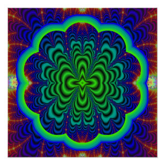 Wormhole Fractal Neon Green Space Tubes Poster