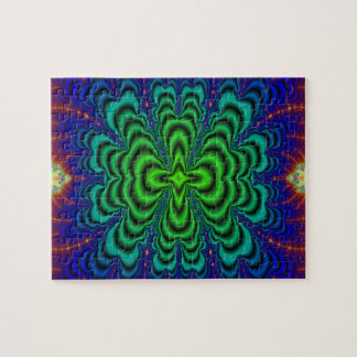 Wormhole Fractal Neon Green Space Tubes Jigsaw Puzzles