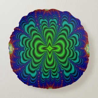 Wormhole Fractal Neon Green Space Tubes Round Pillow