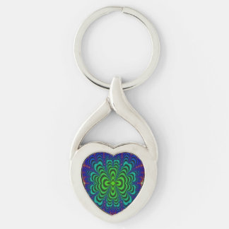 Wormhole Fractal Neon Green Space Tubes Silver-Colored Heart-Shaped Metal Keychain