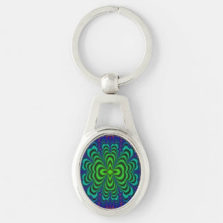 Wormhole Fractal Neon Green Space Tubes Silver-Colored Oval Metal Keychain