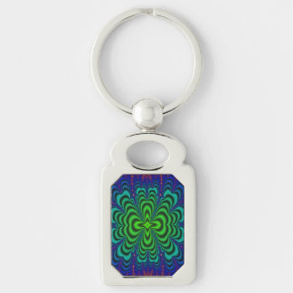 Wormhole Fractal Neon Green Space Tubes Silver-Colored Rectangular Metal Keychain