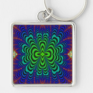 Wormhole Fractal Neon Green Space Tubes Silver-Colored Square Keychain
