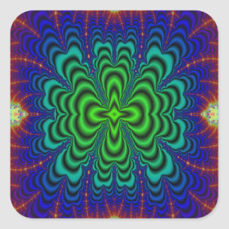 Wormhole Fractal Neon Green Space Tubes Square Sticker