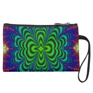 Wormhole Fractal Neon Green Space Tubes Suede Wristlet Wallet