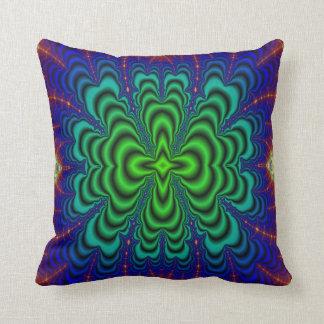 Wormhole Fractal Neon Green Space Tubes Throw Pillow