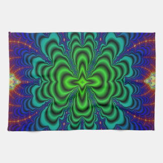Wormhole Fractal Neon Green Space Tubes Towel