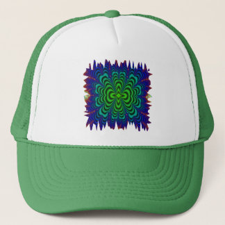 Wormhole Fractal Neon Green Space Tubes Trucker Hat
