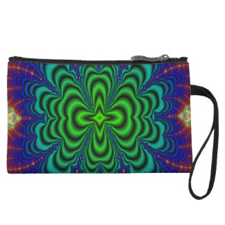 Wormhole Fractal Neon Green Space Tubes Wristlet Wallet