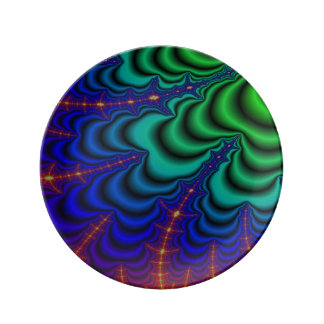 Wormhole Fractal Space Tube Porcelain Plate