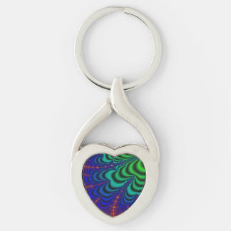 Wormhole Fractal Space Tube Silver-Colored Heart-Shaped Metal Keychain