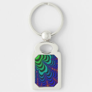 Wormhole Fractal Space Tube Silver-Colored Rectangular Metal Keychain