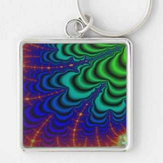 Wormhole Fractal Space Tube Silver-Colored Square Keychain
