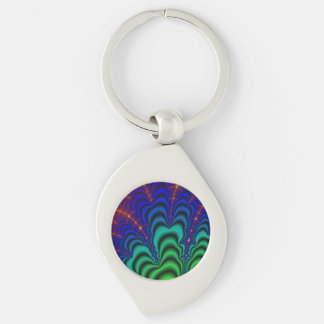 Wormhole Fractal Space Tube Silver-Colored Swirl Metal Keychain