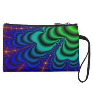 Wormhole Fractal Space Tube Suede Wristlet Wallet