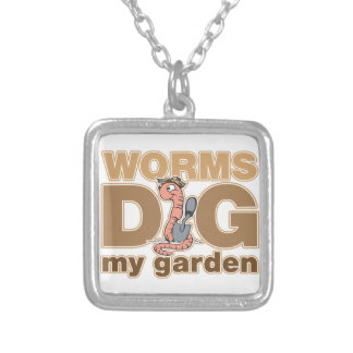 Worms Dig My Garden Square Pendant Necklace