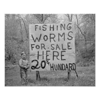Worms For Sale, 1935. Vintage Photo Poster