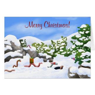 Wormy Christmas card