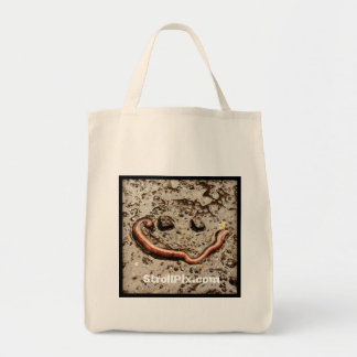 Wormy Smile grocery bag