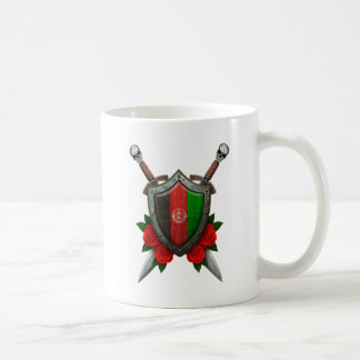 Worn Afghan Flag Shield and Swords with Roses Coffee Mugs