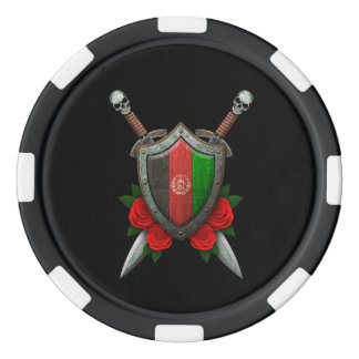 Worn Afghan Flag Shield and Swords with Roses Poker Chips