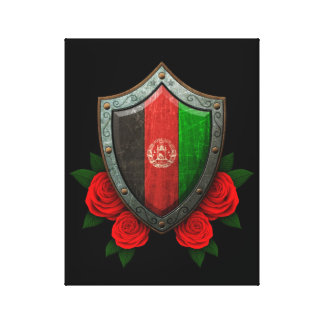 Worn Afghan Flag Shield with Red Roses Gallery Wrap Canvas
