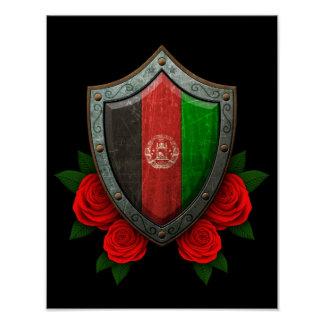 Worn Afghan Flag Shield with Red Roses Poster