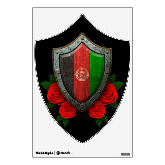Worn Afghan Flag Shield with Red Roses Room Decals