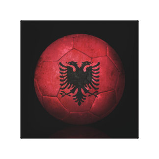 Worn Albanian Flag Football Soccer Ball Canvas Print