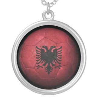 Worn Albanian Flag Football Soccer Ball Round Pendant Necklace