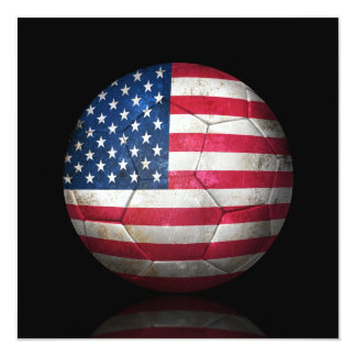 Worn American Flag Football Soccer Ball Card