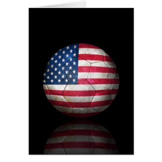 Worn American Flag Football Soccer Ball Greeting Card