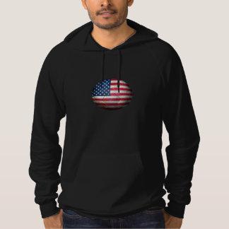 Worn American Flag Football Soccer Ball Hoodie