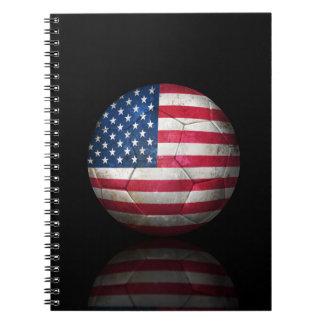 Worn American Flag Football Soccer Ball Notebook