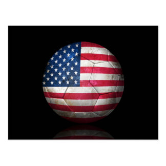 Worn American Flag Football Soccer Ball Postcard