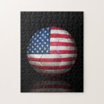 Worn American Flag Football Soccer Ball Puzzle
